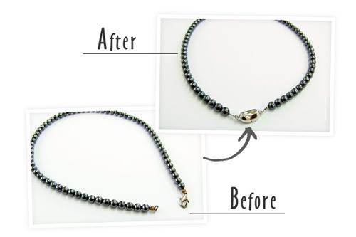 ネックレスの金具交換と糸替え。