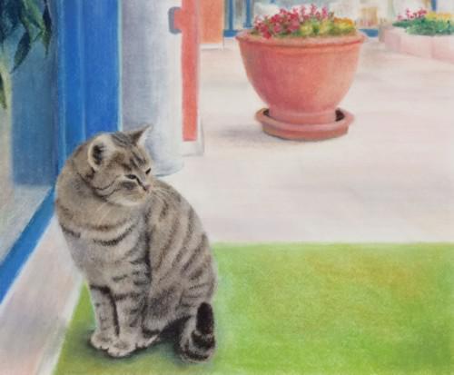 府中市に在住のKさんのパステル画の作品『猫』