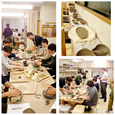 陶芸教室 東京国立 けんぼう窯で男子だけ18名の陶芸体験。