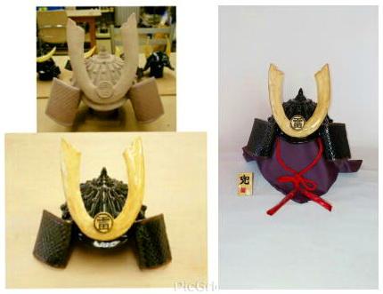 陶芸教室 東京 国立けんぼう窯 Iさんから完成した兜の写真が