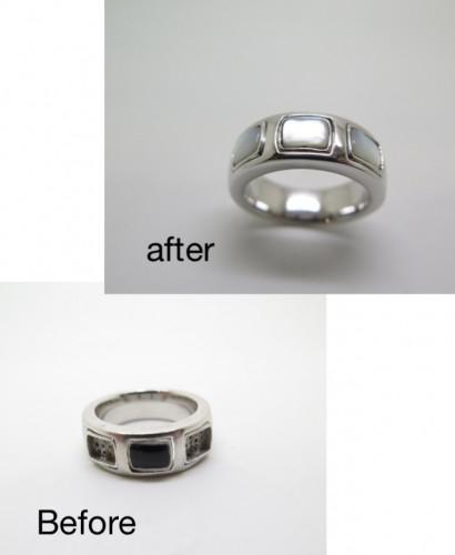 指輪の外れた石を入れ替え オニキス 白蝶貝