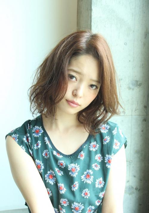 前髪長めウェーブ(デジキュア)ロブスタイル☆グレージュカラー