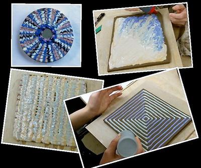 陶芸教室 東京国立けんぼう窯スリップウエアーの作品乾燥中。