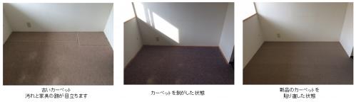 札幌市中央区のお客様 リビングのカーペット張り替え工事