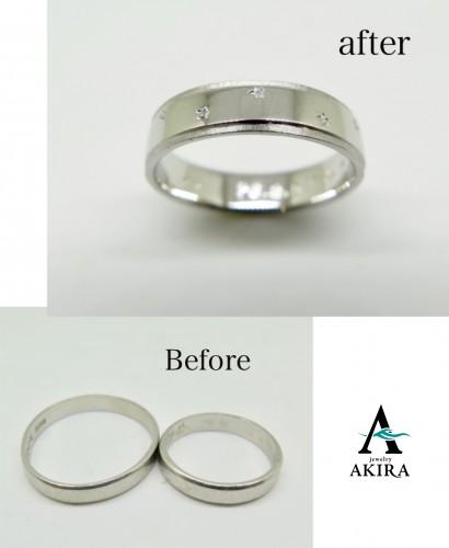 二本の指輪を溶かして一本の指輪にいたしました