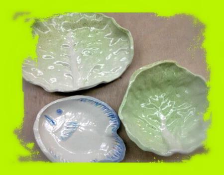 陶芸教室 国立けんぼう窯 夏の器、さわやかなキャベツの葉皿