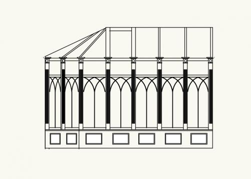 コンサバトリーに装飾柱