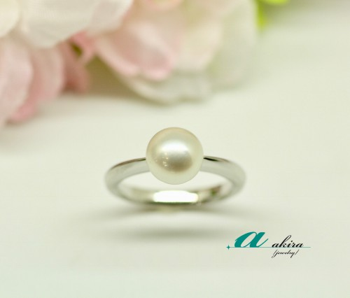 一粒真珠(パール)のプラチナリング