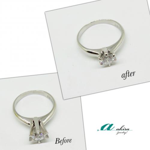 既存の婚約指輪の爪を低く致しました