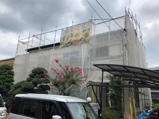 川越市にて外壁リフォーム施工中です