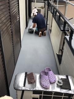 東松山市でバルコニー床防水工事を施工してきました