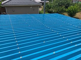 東松山市で車庫の屋根塗装を施工しました
