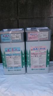 川越市で屋根・洋風瓦の塗装工事中です
