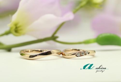 ピンクゴールドの結婚指輪のオーダーメイド