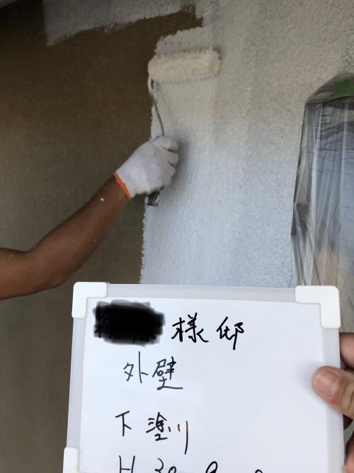 本日は鶴ヶ島市でモルタル下地処理を施工致しました