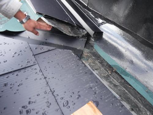 杉並区で緩勾配屋根の谷樋絡みの雨漏り改善作業を実施しました!