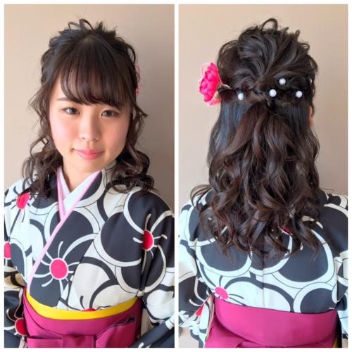 卒業式 髪型 ハーフアップ 袴 着付け 2019年
