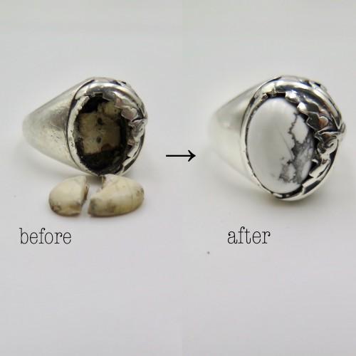 割れてしまった指輪の石の入れ替えを致しました