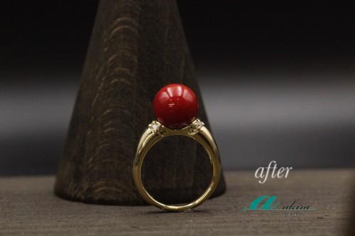 譲り受けた血赤珊瑚の指輪をリフォーム八街市から御来店
