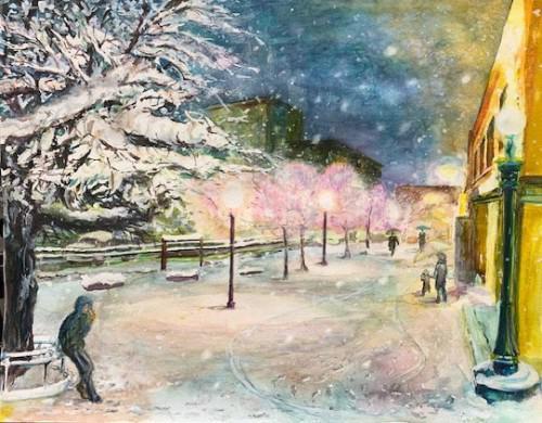 Kさんの水彩画作品「雪の夜」