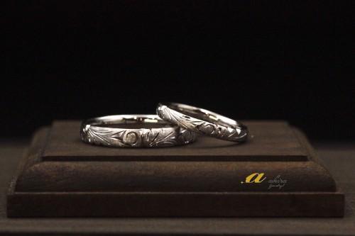 プラチナ和彫りのペアリング、結婚指輪のオーダー美浜区から