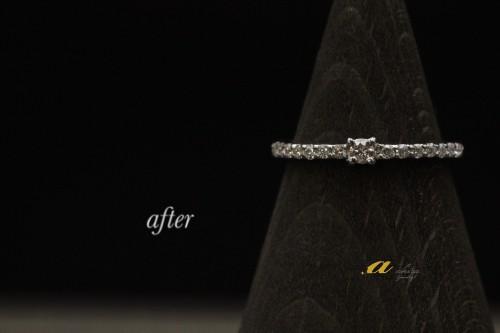 ダイヤモンドを追加して細めの指輪に作り変え