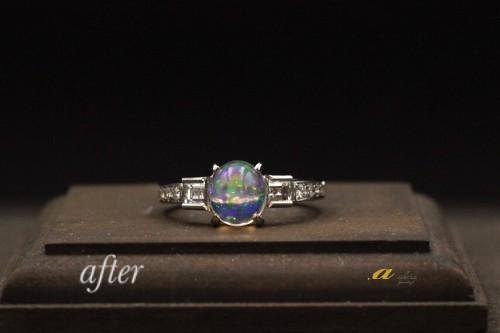 二本の指輪を1本にリフォーム(オパール入り)