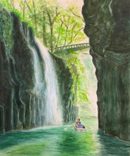Oさんの水彩画「高千穂峡」