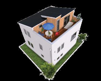 屋上ガーデン付スキップフロア新築住宅/藤沢工務店