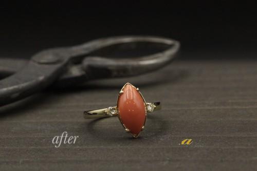 珊瑚の指輪を普段着けられるように作り変え