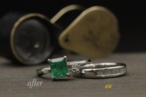 エメラルドの指輪を2本の指輪にリフォーム致しました