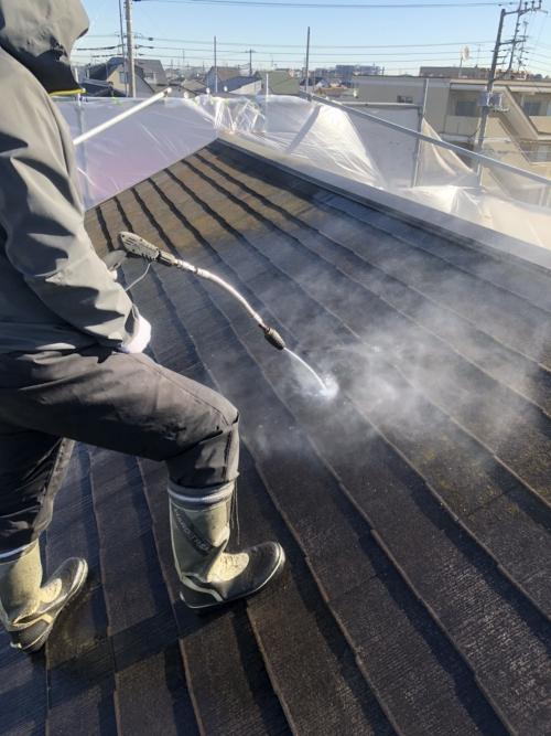 鶴ヶ島市で屋根の高圧洗浄工事をしました