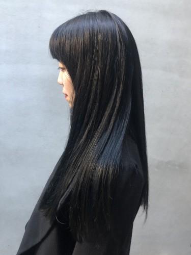 ブラックヘアー ブルーブラック ロング