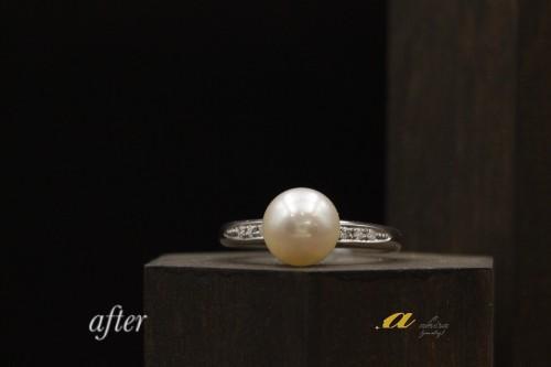 この時期は真珠の指輪や真珠ネックレスのご依頼が多いです