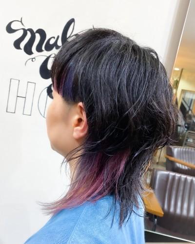 代官山 中目黒 美容室 ウルフカット ポイントカラー ピンク