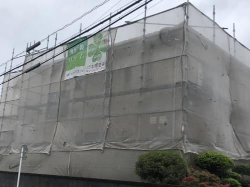 川越市で仮設足場組立工事が完了しました